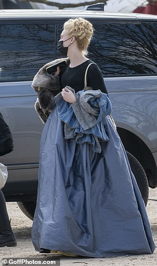Catherine the Great: Elle appeared to be wearing a prosthetic baby bump, after first revealing she would be pregnant during the series in February by sharing a promotional image