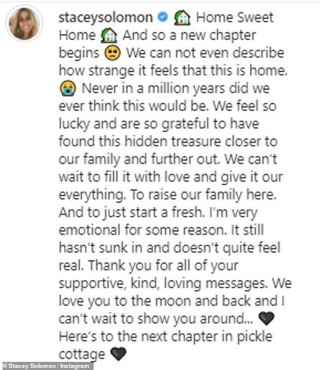New beginning: Captioning her post, Stacey revealed that she and Joe felt 'lucky and grateful' to have found the 'hidden treasure' of a home, adding she 'can't wait' to raise their family here