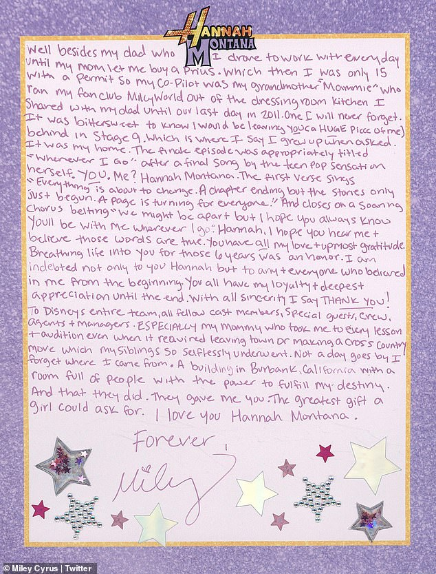Rollercoaster ride: 'You and I have been through it all, my friend,' Miley went on, 'We've shared many firsts. A lot of lasts. Ups. Downs. Tears + laughs'
