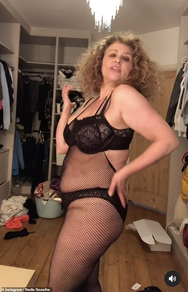 Putting on a show:This isn't the first time Nadia has teased Kim's sizzling social media uploads as a few weeks prior,she did her best Kim K impression by larking around in lingerie