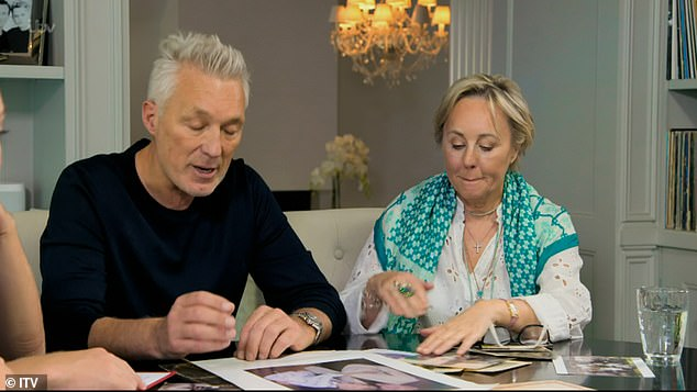 All together: Martin's wife Shirlie was also seen for some scenes with the family looking at old photographs together