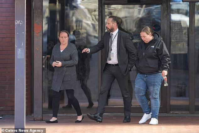 Tracey Taundry (far left) is pictured outside court in September 2018