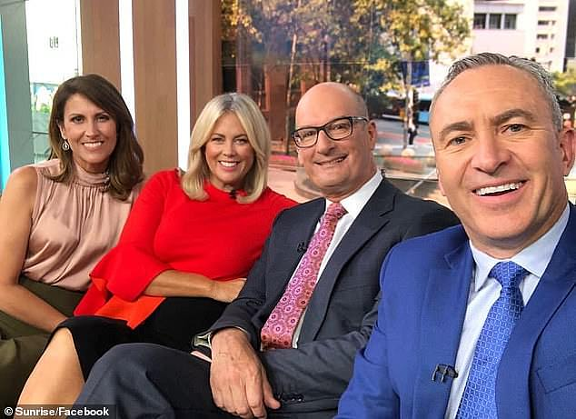 Not told: 'We didn't know about it and we had a postponed Christmas party the next day,' Kochie said. Pictured (left to right): Natalie Barr, Sam Armytage, David Koch and Mark Beretta