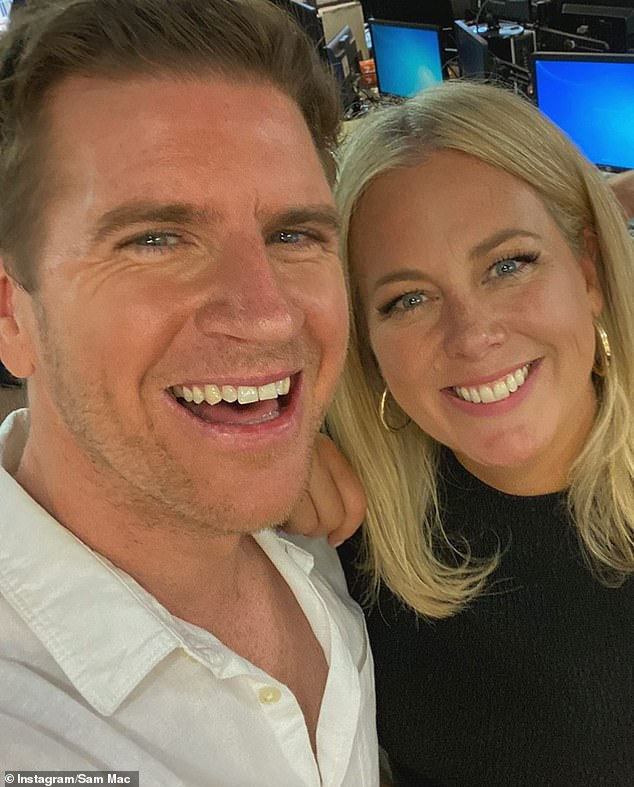 Former co-stars: Samantha is pictured with Sunrise weatherman Sam Mac