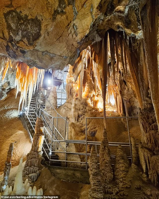 The limestone caves (pictured) are one of the most popular natural tourist attractions in Australia