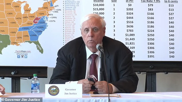 Gov. Jim Justice hosts a panel of business leaders from across West Virginia for a meeting to discuss his plan to repeal the state personal income tax