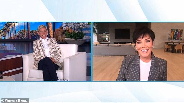 Momager: KUWTK matriarch Kris Jenner (R) gave updates on her daughters Khloé Kardashian and Kim Kardashian during Thursday's episode of The Ellen DeGeneres Show