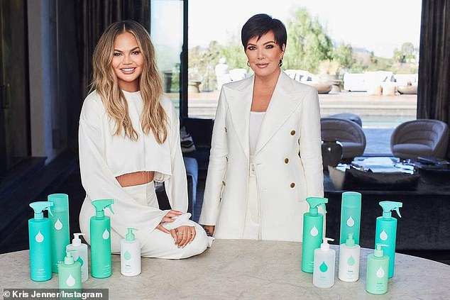 COVID-inspired endeavor: Jenner was promoting her new company Safely, a plant-based home cleaning and self-care products costing $6-$14, with co-founders Chrissy Teigen (L) and Emma Grede