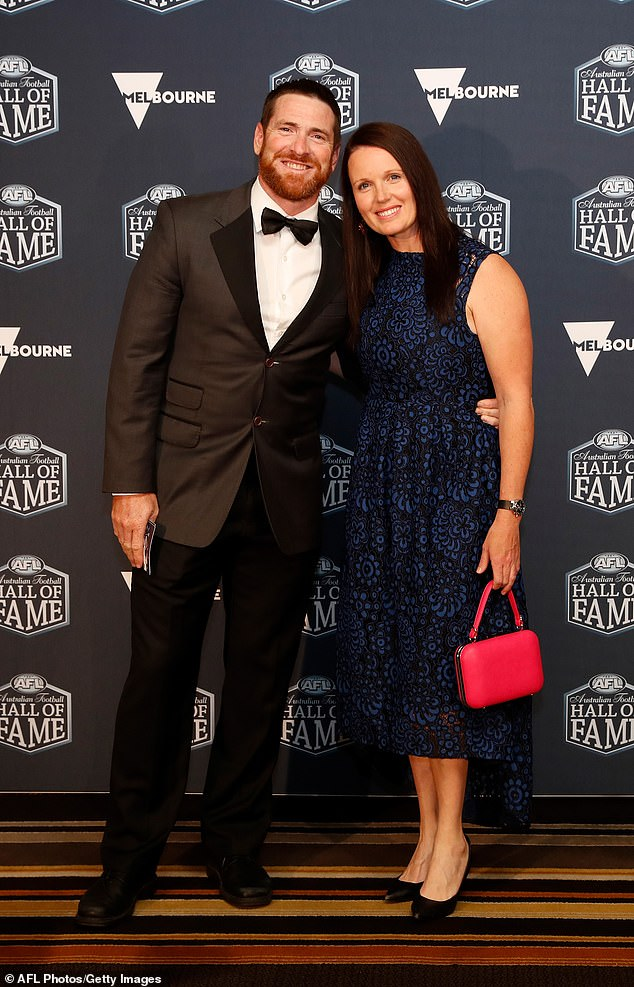 Akermanis' reputation as a source for intra-club drama prevented AFL clubs from taking a chance on him in his ambitions to become a coach. However his feats and his brilliance were recognised when he was admitted to the AFL Hall of Fame in 2019 (pictured with wife Megan)
