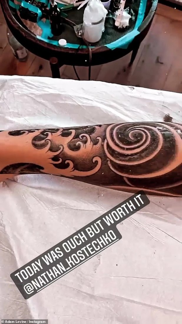 It's worth it: 'Today was ouch, but it was worth it,' Levine said on his Instagram story, while tagging tattoo artist Kostechko.