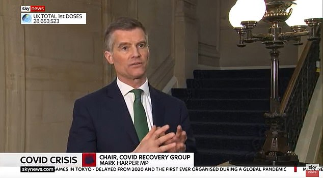 CRG leader Mark Harper told Sky News: 'I haven't heard a single good answer about why the Government wishes to do that, given that the Prime Minister has said he wants to be out of all of our legal restrictions by June.'