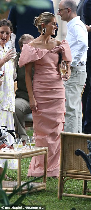Mixing and mingling: Kate was seen smiling as she mingled with the other guests at the ceremony