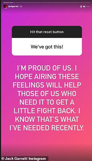 Hopeful: As Jack's followers sent in messages of why they're tired, he responded that he 'hopes to get a little fight back