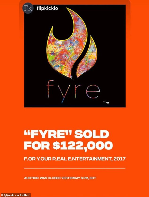 Ja Rule's Twitter post announcing the sale of his NFT of the Fyre Media logo created by artist Tripp Derrick Barnes