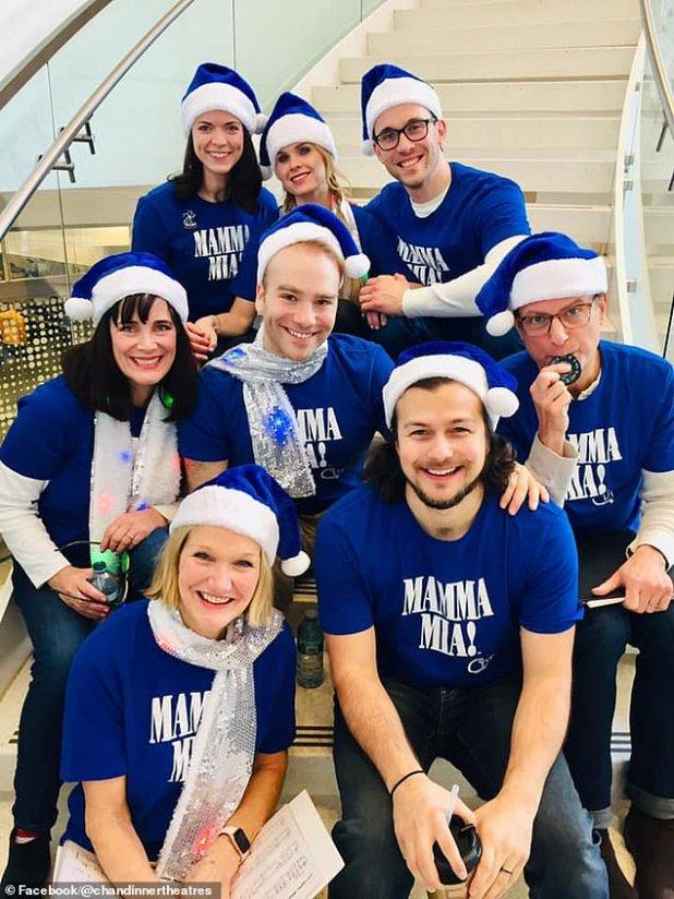 The cast of Chanhassen Dinner Theatre's Mamma Mia are pictured