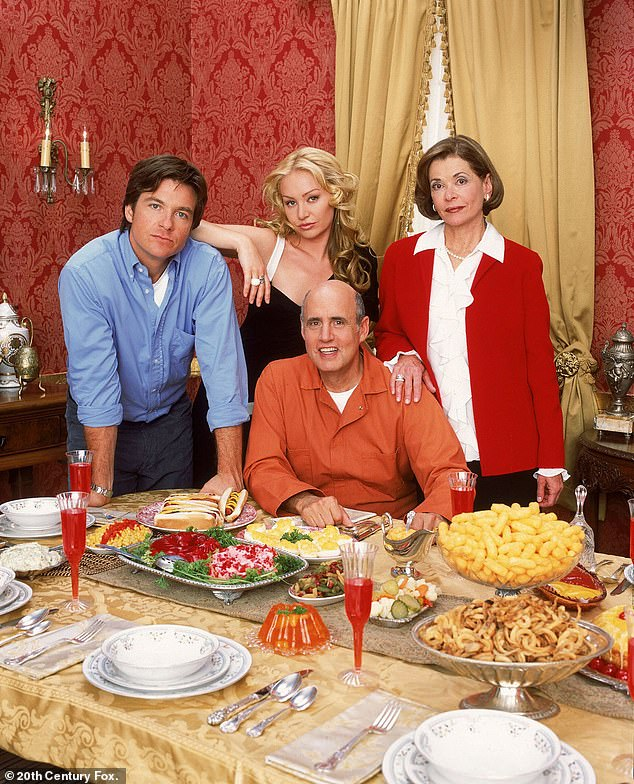 Now the story of a wealthy family who lost everything: Walter seen with Arrested Development co-stars Jason Bateman, Portia de Rossi, and Jeffrey Tambor as they are seen in September 2014