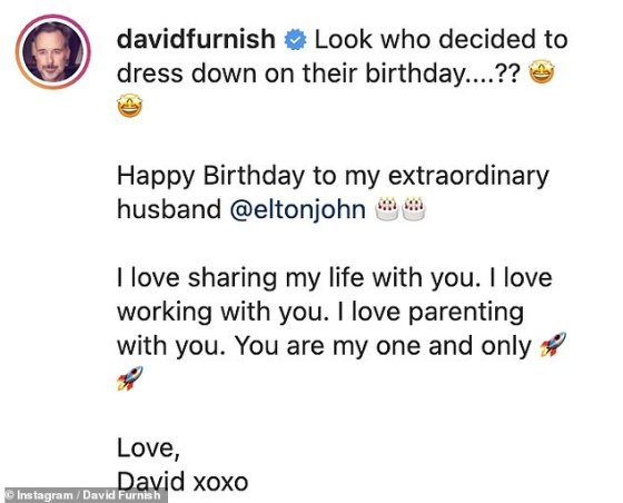 'Happy birthday to my extraordinary husband': David gushed about his beauty, writing that the singer is his 'one and only'
