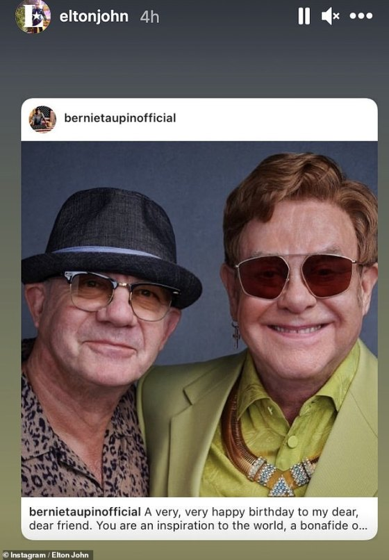 Old friends: lyricist Bernie Taupin wrote that Elton is an 'inspiration to the world' in his moving birthday message