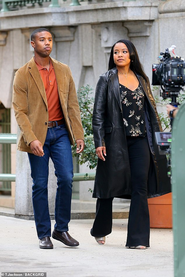 New look:The on-screen couple were later spotted wearing different outfits, with Jordan rocking an orange polo shirt under a brown coat