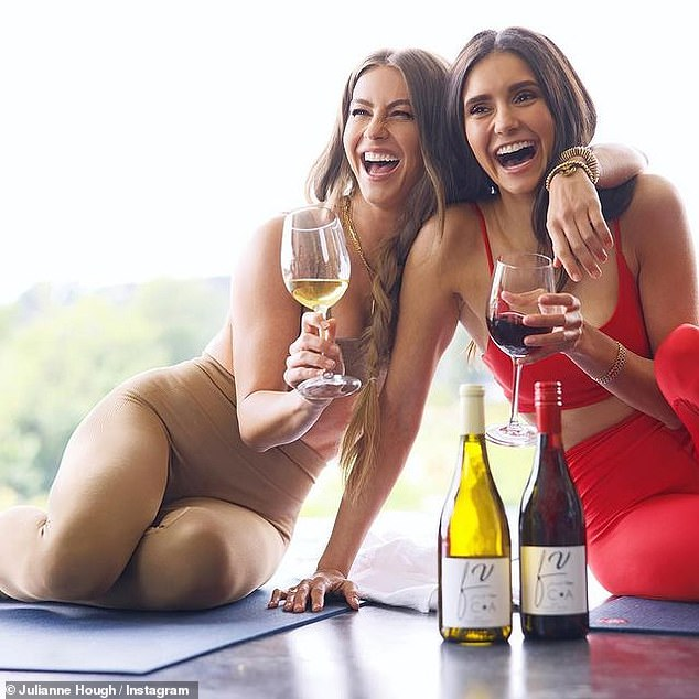 Cheers: The actress, 32, and the TV personality, also 32, promoted Fresh Vine Wine on their Instagrams this week with a series of very polished photos of them enjoying a drink together