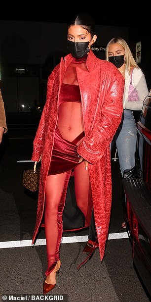 Kylie in red: Kylie turned heads in an all-red look