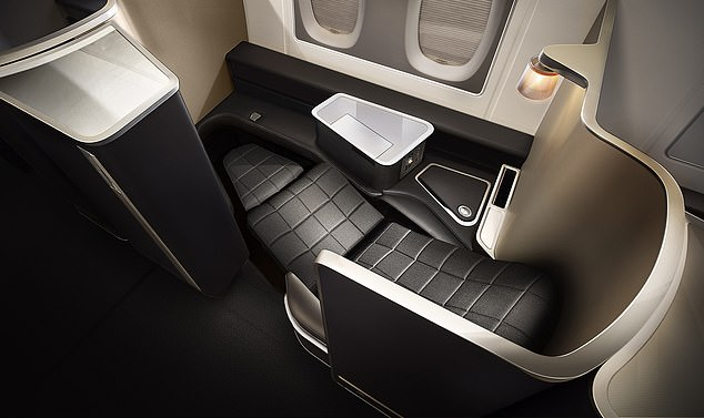 BA's A380 first-class seats (pictured) are the biggest in the fleet, with30 per cent more personal space and 60 per cent more personal stowage than the first suites on its Dreamliners