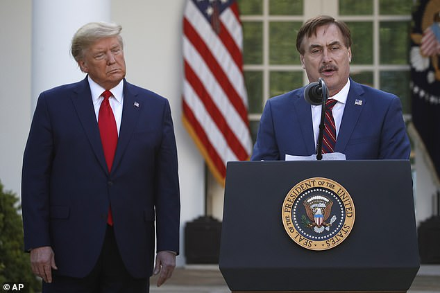 Trump's ban from Twitter came alongside permanent suspensions for allies including MyPillow supremo Mike Lindell (pictured) who had backed the false election fraud claims