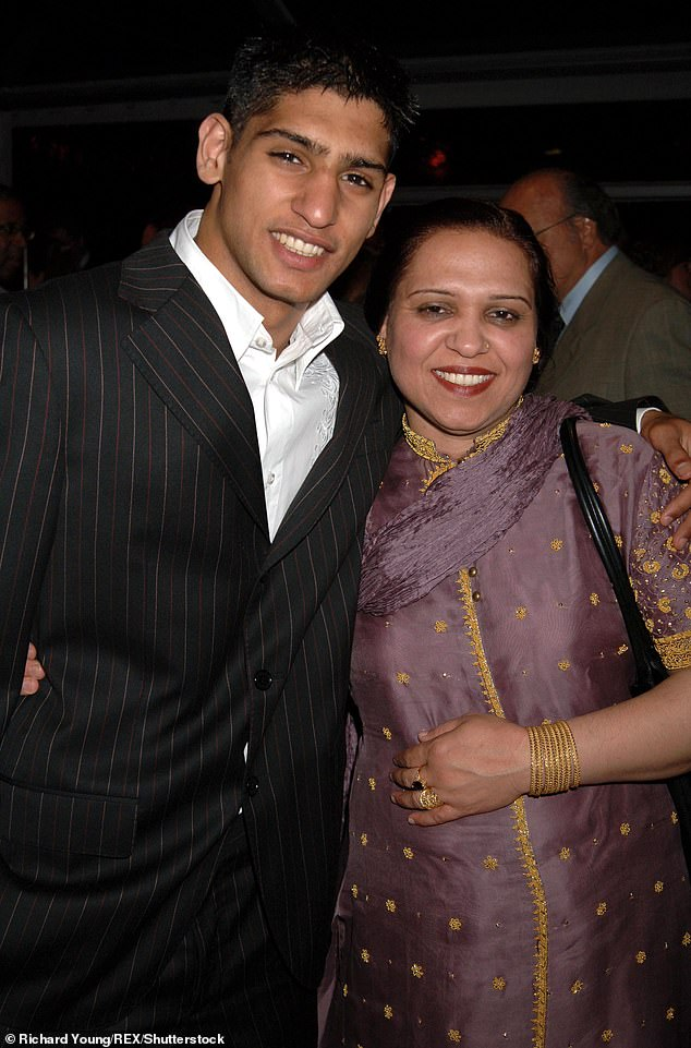Strong: Amir Khan has faced the sad reality of his mum, Falak's stage four pancreatic cancer battle in a new BBC eight-part documentary (pictured together in 2005)