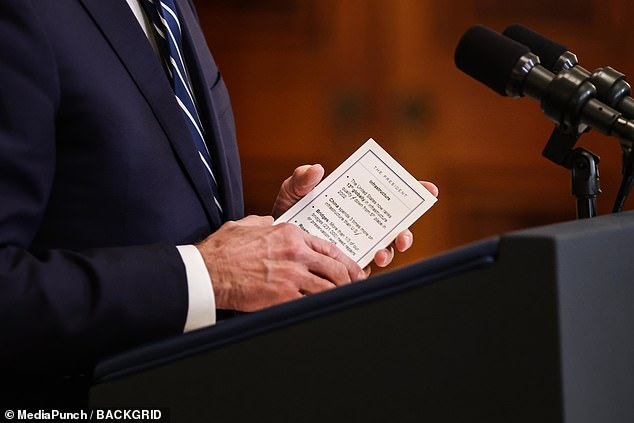 Biden used cue cards at his press conference on Thursday to remind him of talking points