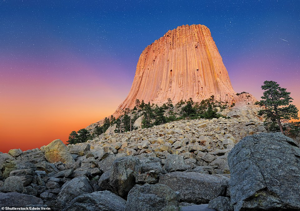 DEVILS TOWER, WYOMING, USA: It's a volcanic tower that's out of this world, having made an appearance in Steven Spielberg's Close Encounters of the Third Kind. Ford reveals that this 264m (867ft) geological feature is considered sacred by Northern Plains Indians and is thought to have been formed 'by an intrusion of magma into surrounding sedimentary rock' and 'would only have become a visible landmark when all the sedimentary material eroded away'. Ford adds: 'Some believe, however, that Devils Tower is all that remains of what was once a huge explosive volcano'