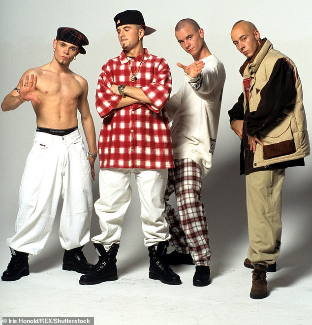 Brian (pictured far left) starred in East 17 alongside bandmates Terry Coldwell, Tony Mortimer and John Hendy Various and rose to fame with songs such as Christmas hit Stay Another Day