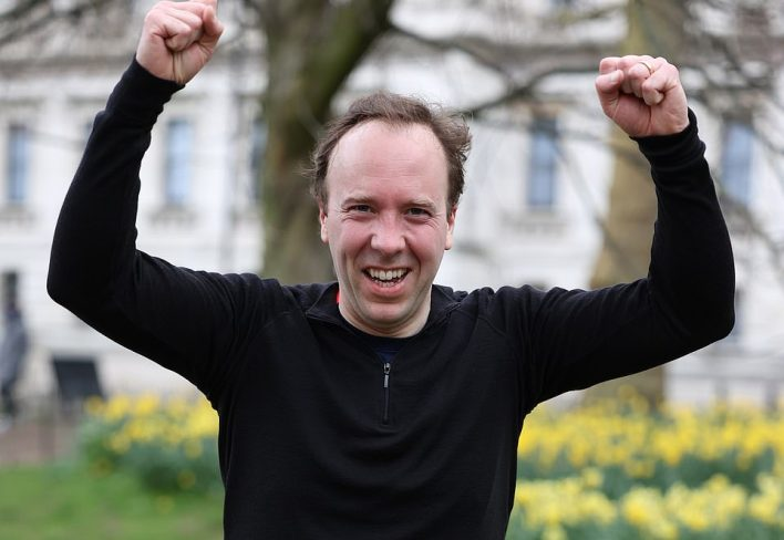 Matt Hancock running in London today. The government insists it is confident in its vaccine targets ofoffering a first dose to all over-50s by April 15 and all adults by July 31