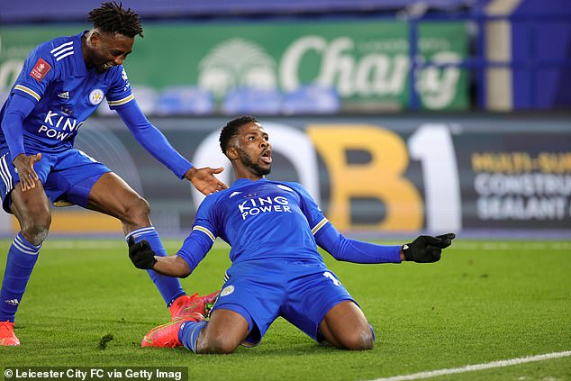 Kelechi Iheanacho celebrates after scoring his second in the FA Cup win against Man United
