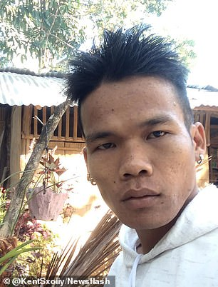 The 25 year old (pictured) was stabbed by a gang of youths 15 months ago in Kidapawan, Philippines