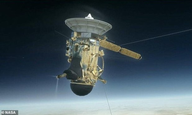 Cassini is depicted here in an illustration from NASA.  Cassini was launched from Cape Canaveral, Florida in October 1997