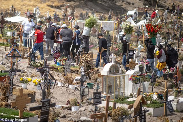 A group of people carry a coffin of a person in the new section of the San Miguel Xico Cemetery in Valle del Chalco, Mexico, on Thursday. Mexico is one of three countries that was placed on a travel ban list by Argentina's government