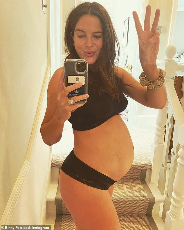 Not long! Binky Felstead, 30, showed off her bump in a black bra and briefs in a new Instagram photoon Friday as she revealed that her baby will arrive in ten weeks