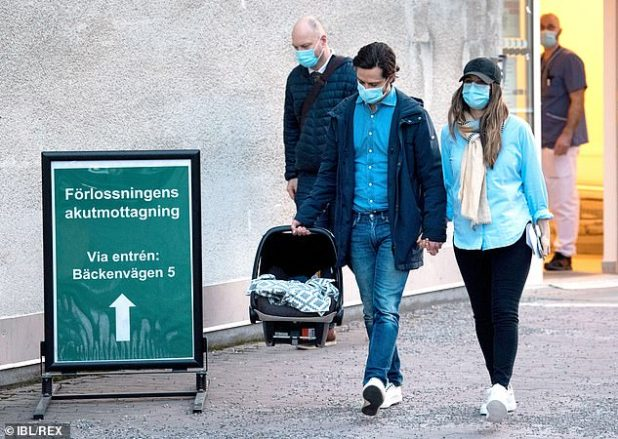 Princess Sofia, 36, sported a laid-back figure in a light blue shirt, black jeans, and sneakers, and completed her look with a beige scarf and a casual black cap (pictured)