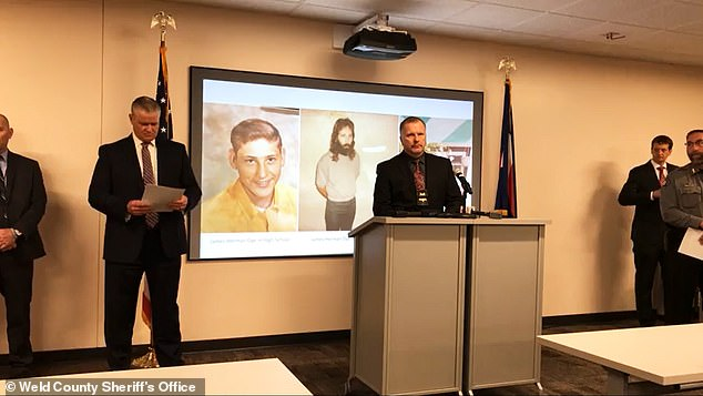 Officials announcing the arrest of Dye during a Friday press conference