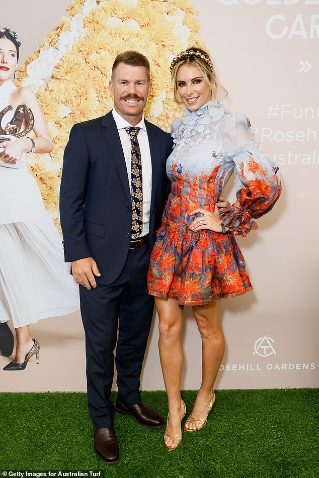 Hot to trot! On Saturday, Candice Warner stunned as she showed off her trim pins in a $1,750 butterfly embellished minidress as she and husband David led red carpet arrivals at the Longines Golden Slipper Day in Sydney