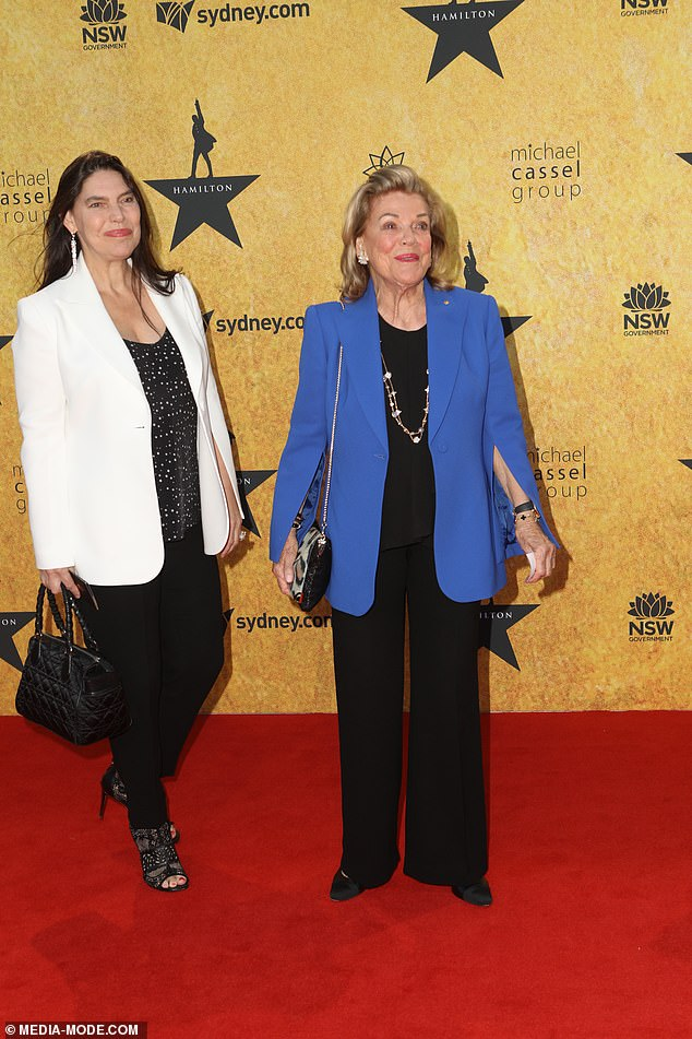 Well to do:Ros Packer and her daughter Gretel Packer went together, with Ros classy in powder blue while Gretel went for a trendy black and white look. Both pictured