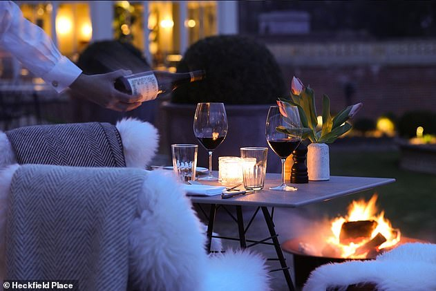 The Italian Terrace at Heckfield Place has fire pits and sheepskin rugs to keep you warm on those chilly evenings