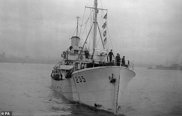 A HMT King Sol on the Mersey. Mr Hoffmeister was assigned to the Royal Naval Patrol Service after completing his training as a coder, serving with a converted trawler, HMT King Sol, in the Atlantic and Arctic