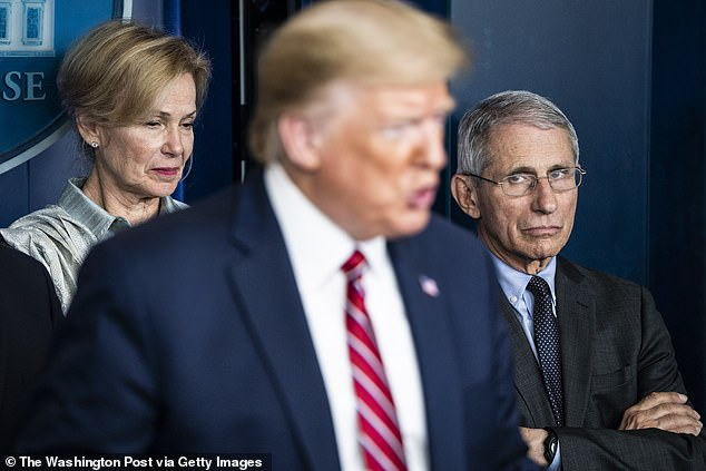 Dr. Deborah Birx and National Institute for Allergy and Infectious Diseases Director Dr. Anthony Fauci listen as President Trump speaks with the coronavirus task force in March 2020