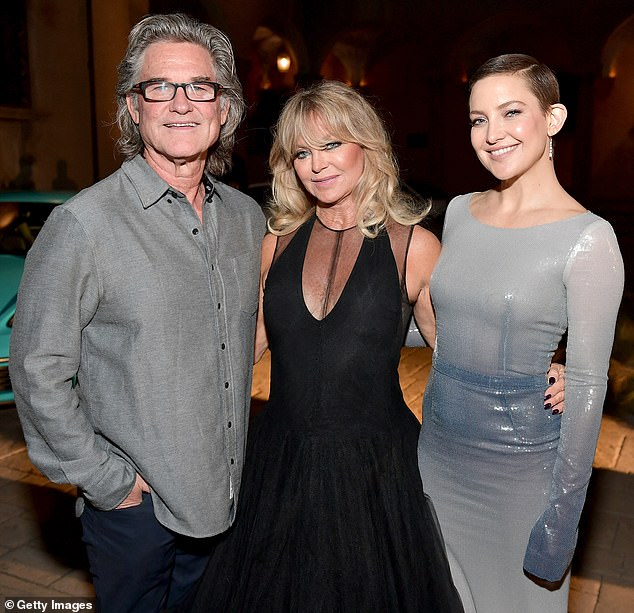 Hilarious!Kate Hudson has admitted that her famous mother Goldie Hawn often shared 'too much' information about her bedroom antics when she was growing up (pictured together with her stepfather Kurt Russell in 2017)