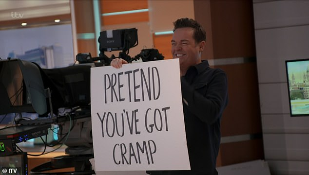 Sneaky: On Saturday Night Takeaway, viewers were showed how cameras followed Stephen as he snuck behind the scenes during filming to disrupt the show, including asking Phillip to pretend he had cramp on This Morning