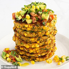 Jessica shared the recipe for the corn and zucchini fritters (pictured) online