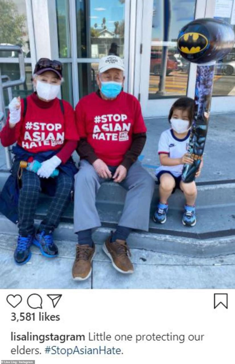 Taken at the rally: Ling documented sweet moments at the demonstration, adding them to her Instagram account
