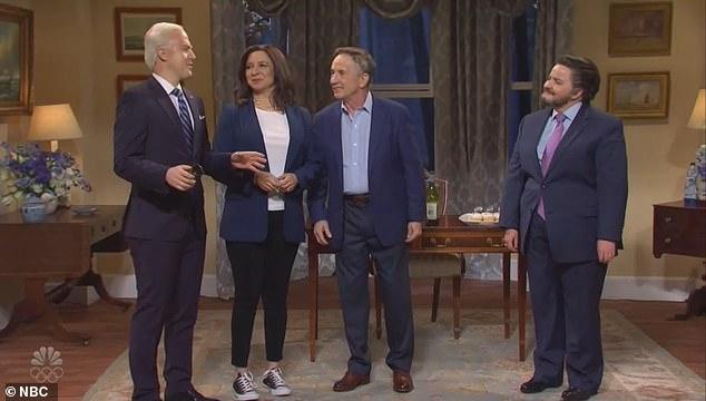 Maya Rudolph as Kamala Harris chats with Joe Biden during a sketch about a dinner Seder that made jokes about Biden