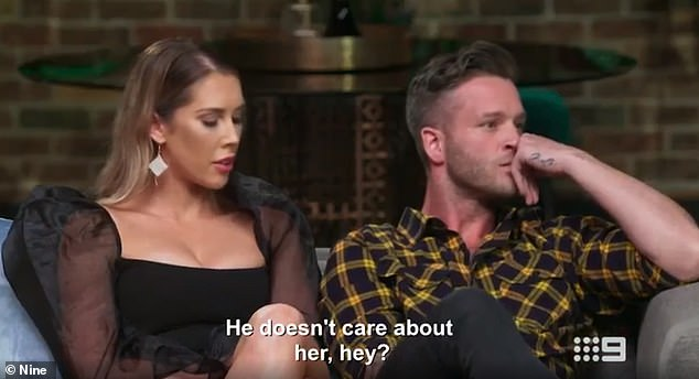 Not impressed: 'He doesn't care about her, hey,' Rebecca whispered under her breath, while Patrick Dwyer outwardly said he 'didn't get' Bryce's choice as he knew Melissa would have voted stay